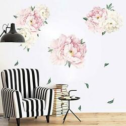 Removable Flowers Wall Sticker Peony Rose Wall Decals Watercolor Peonies