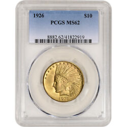 1926 Us Gold 10 Indian Head Eagle - Pcgs Ms62
