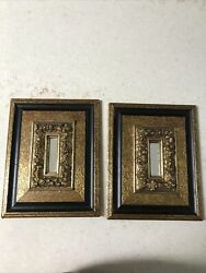 Vintage Turner Deco Wood Wall Accessories Black Gold Mirror 11andrdquo By 8.5andrdquo Pair Mcm