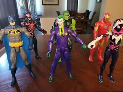 Dc And Marvel 12in Action Figures Lot Of 6 Good And Bad Guys