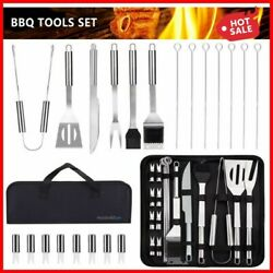21 Pc Griddle Accessories Kit Flat Top Grill Stainless Steel Bbq Tool Set W/ Bag