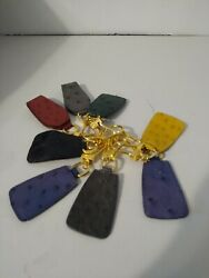 Authentic Vintage Keychain Lot Of 8 Ostrich Different Colored Key Holders