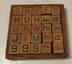 25 Antique Rubber Children's Alphabet And Number Toy Building Blocks In Wooden Box