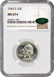 1943 S 25c Silver Washington Quarter Ngc Ms67 Star Cac Gem Uncirculated Coin