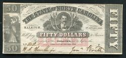 1863 50 Dollars The State Of North Carolina Raleigh Nc Obsolete Currency Noteandnbsp