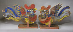 A Pair Of Fine/rare/large Korean Mineral Pigments Painted Roosters-19th C.