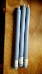 PACK OF 3 YANKEE CANDLE 12quot; SKY BLUE TAPER UNSCENTED CANDLES hard to find