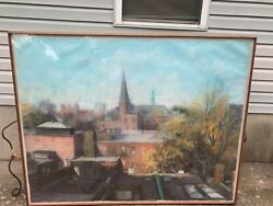 Jean Cain Boston, 20th Century View Boston, Pastel On Paper, Signed 53x68