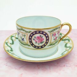 Haviland Limoges Porcelain And039louveciennesand039 Can Shape Tea Cup And Saucer