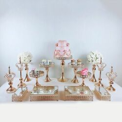 Gold Cake Stand Set Cupcake Tray Dessert Table Decorating Party Display Pedestal