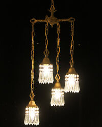 Vintage Lamp Chandelier Hanging Swag Tole Brass Deco Style Lily Crystal Prisms