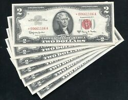 7consecutive 1963-a 2 Starred Seal Legal Tender United States Notes Gem Unc
