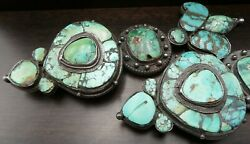 Beautiful Massive Antique Tibetan/himalayan Sterling Silver And Turquoise Earrings