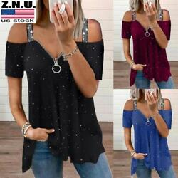 Plus Size Womens Zip V Neck Cold Shoulder Tops Ladies Summer Sexy Casual T shirt $16.39