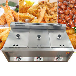 3 Wells Stainless Gas Fryer 6l Commercial/household Countertop Deep Gas Fryer Us