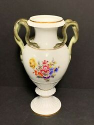 Meissen Porcelain Vase With Flowers And Snake Handles 11 H
