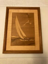 Vintage Hudson River Inlay Marquetry. Nelson. Sailboat. Rare. See Desc.