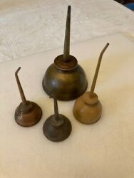 Vintage Lot Of 4 Oil Cans With Spouts. One Eagle, Others Unk.