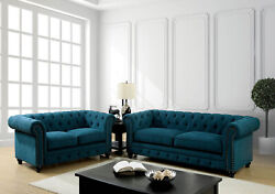 Chesterfield Living Room Furniture Dark Teal 2pc Set Sofa Loveseat Tufted Couch