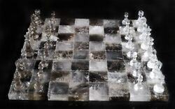 Natural Rock Crystal Quartz Hand Carved Chess Set Large Unique Queenand039s Gambit