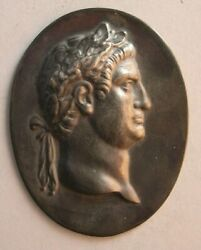 1519-antique Custom Made Roman King Sterling Silver Plaque