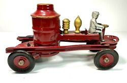 Vintage Kingsbury Tin Wind-up Toy Pumper Fire Truck Made For Jc Penney C. 1920s