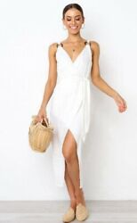 Bnwt Bright White Crossover Belted Midi Summer Dress Size 8 12 - Store Closing