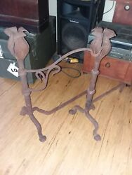 1800and039s Hand Forged Andiron Fireplace Set With Pot Hanger