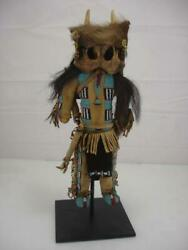 Antique Native American Plains Tribe Indian Doll Beaded Leather Stand Fringe