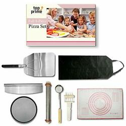 Pizza Making Kit 8 Pc Set With Outdoor Supplies Metal Peel, Pan, Cutter