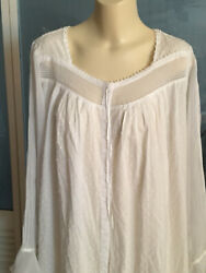 Nwot Vintage Eileen West Dotted Swiss Cotton Chiffon Night Gown Edwardian Style