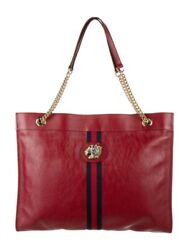 Retails For2690 Rajah Maxi Handbag Tote Red Leather Tiger Head Chain New