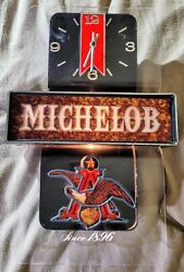 Vintage 10x18 Michelob Lighted Beer Sign With Clock And Anheuser Busch Eagle