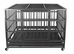 48 Heavy Duty Pet Dog Cage Strong Metal Kennel Crate Folding Playpen Metal Tray