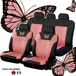 4/9pcs Auto Seat Covers For Car Truck Suv Van Universal Protectors Butterfly