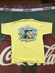 Mens Vintage Camel Cigarettes Pocket T-shirt Yellow Single Stitch Made In Usa
