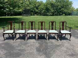 Stickley Queen Anne Chippendale Style Solid Cherry Dining Chairs - Set Of 6