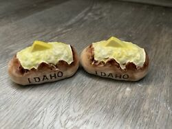Vintage Idaho Baked Potato With Butter Vegetable Salt And Pepper Shakers