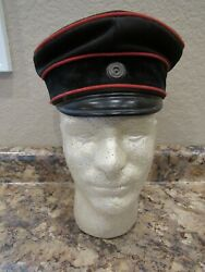 Wwi German Imperial Officers Visor Cap With White And Black Rosette And Maker
