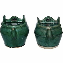 Green Glazed Shiwan Pottery Teapots Qing Dynasty And039pairand039
