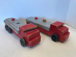 Vintage Noma Woodies Wooden Oil Gas Tanker Truck Pull Toys