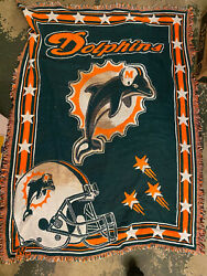 Miami Dolphins Vintage Woven Throw Blanket Tapestry Nfl Northwest Company