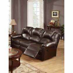 Opulent Hardwood, Metal And Bonded Leather Recliner Sofa, Brown Modern And Contempor