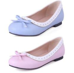 Womens Flat Sole Loafers Slip On Bow Brogue Oxfords Pumps Comfy Shoes 52 53 54 D