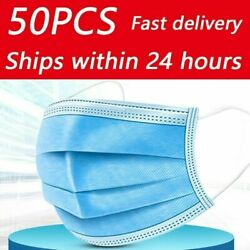 50 X Premium Quality - Face Mouth And Nose Protection Blue Masks Uk
