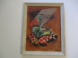 Margo Signed 1950and039s Oil Painting Cubism Cubist Modernist Expressionist Surreal