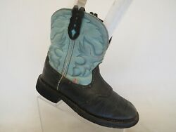 Justin Gypsy Black Teal Leather Stockman Western Cowboy Boot Womens Size 10 B