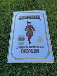 Vintage Beefeater London England Dry Gin Bar Mirror Sign Beer Advertising Framed