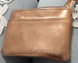 Starbucks Small Card Pouch Coin Purse W/keyring Rose Gold Nwot