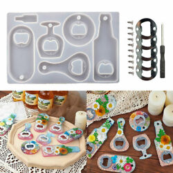 Silicone Beer Bottle Epoxy Opener Mold Resin Pendant Casting Mould Tool Diy Set